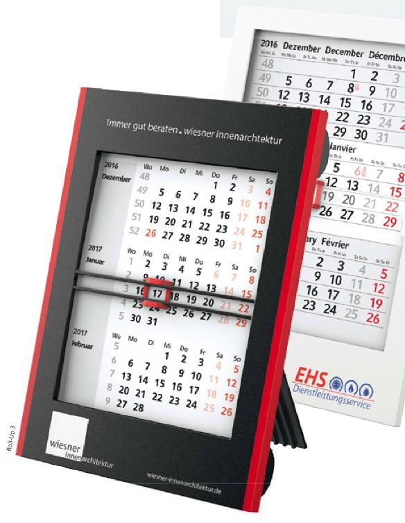 """Die neuen Tisch- Monatskalender """"Box"""" und """"Roll-Up"""""""